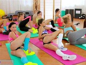 Dreier Fitnessräume Lesbisch Gym Lesben
